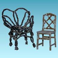 "DOLLHOUSE MINIATURE CHAIRS - Metal Tootsietoy USA 1 3/4"" & Beaded Chair 2"" - Vintage!! - 2 Chairs!!"