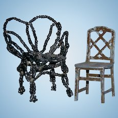 "DOLLHOUSE MINIATURE CHAIRS - Metal Tootsietoy USA 1 3/4"" & Beaded Chair 2"" - Vintage!! - 2 Chairs!!"
