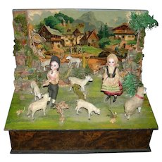 ZINNER & SOHN - MUSIC BOX With Dancing Dolls & Animals & Background - 11 x 8 1/2 x 9
