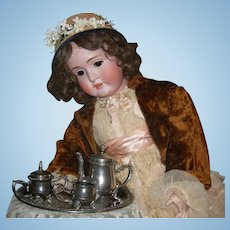 SILVER PLATED TEA SET - Doll Or Child Size - Large w/ Ornate Handles and Feet - Vintage!!