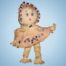 """TINIEST RAG DOLL - 2 1/2"""" - Vintage - Leather w/ Beads - Painted Features"""