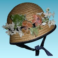 "LARGE STRAW HAT - Vintage - Flowers & Velvet Ribbons - For A Large Doll - 19"" circumference"