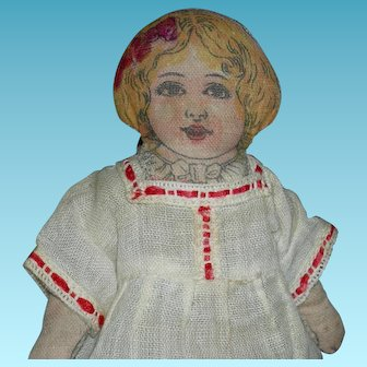 """RARE 6"""" CLOTH DOLL - Tiny Size - Printed Features & Underwear & Red Shoes - Old Dress!!"""
