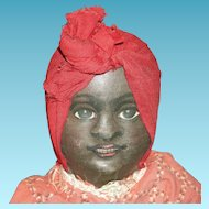 """BRUCKNER DOLL CO - Black & White Mask Face Cloth Doll - 12"""" - Early 1900's - Two Dolls in One!!"""