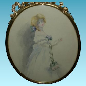 VICTORIAN LADY - WATERCOLOR - Painting with a Brass Frame, Chain & Convex Glass