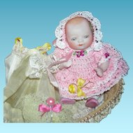 """BISQUE BYE-LO BABY - w/ Old Basket & Layette w/ Accessories & Photos - 5"""""""
