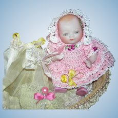 BISQUE BYE-LO BABY - w/ Old Basket & Layette w/ Accessories & Photos - 5""