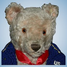 "STEIFF MILITARY BEAR - Mohair w/ Ear Button & Tag - 17"" - Growler - Hand Sewn Mouth - Jointed"