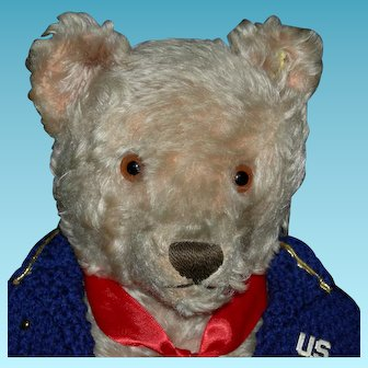 """STEIFF MILITARY BEAR - Mohair w/ Ear Button & Tag - 17"""" - Growler - Hand Sewn Mouth - Jointed"""