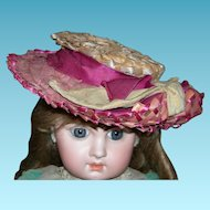 ANTIQUE HAT - Lovely Straw Pink, Purple & Natural Colors - Ribbons & Bows - Large Size!!