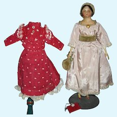 """PAPIER-MACHE' - MILLINER'S MODEL - CUTE 9"""" SIZE - Kid Body w/ Wooden Arms & Legs & Red Shoes - Red Bands - Extra Clothes & Accessories!!"""