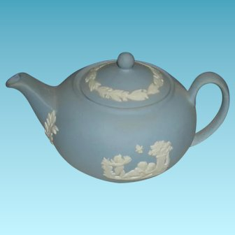 """WEDGEWOOD TEAPOT - MINIATURE - 2"""" High - 3 14"""" Across - Blue with White Cherubs Frolicking!! - Made in England"""