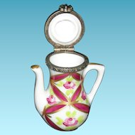 "TEAPOT - LIMOGES - Miniature 2"" Tall x 1 1/2"" Wide - Hinged Lid!! - MADE IN FRANCE - Vintage!! - Hot Pink & Gold!!"