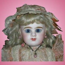 "ETIENNE DENAMUR - 15"" - FRENCH - Blue Eyes & Closed Mouth - Pretty Peachy Pink!!!"