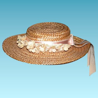 """ANTIQUE STRAW HAT w/ PEACHY PINK RIBBONS & FLOWERS - Excellent Condition - 6"""" across x 1 1/4"""" deep x 7 1/2"""" inside circumference"""