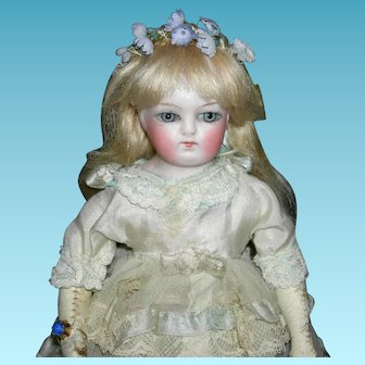 """TINY FRENCH FASHION - 8"""" - Blonde Hair & Blue Eyes - Kid Body - Old Dress & Shoes - Just Precious!!!"""