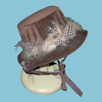 LARGE DOLL HAT - Dark Brown Velvet - Pretty Dot Feathers!! - Ribbons!! - Vintage!!