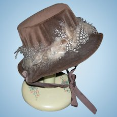 LARGE DOLL HAT - Dark Brown Velvet - Pretty Dot Feathers!! - Ribbons!! - Vintage!!