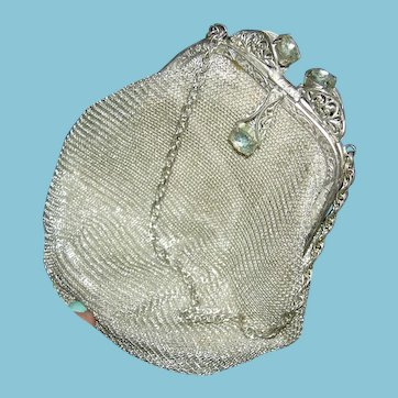 GERMAN SILVER MESH PURSE - Silver Frame w/ Rhinestones & Chain Handle - Label