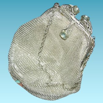 GERMAN SILVER MESH PURSE - Silver Frame w/ Rhinestones & Chain Handle - Label