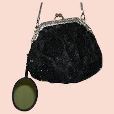 229eea91617c9b BLACK EMBROIDERED SEQUIN BAG w/ MIRROR - Vintage - Silver Frame w/  Rhinestones &