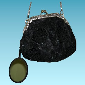 BLACK EMBROIDERED SEQUIN BAG w/ MIRROR - Vintage - Silver Frame w/ Rhinestones & Silver Chain Handle