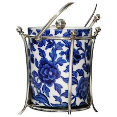 Antique White and Blue Floral Ceramic and Plated Silver Jam Pot with Spoon