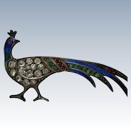 Antique Paste Sterling and Enamel Peacock Pin