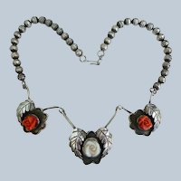 Vintage Sterling And Coral Navajo Necklace
