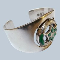Unusual Vintage Sigi Pineda Cuff Bracelet - Sterling and Agate