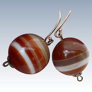 Antique Banded Agate Earrings - 14K Top