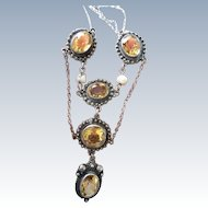 Art Nouveau Silver Citrine & Blister Pearl Necklace