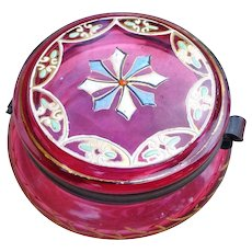 Moser Cranberry  Glass Gilt And Enamel Dresser Jar -  Late 1800's
