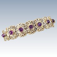 Early Amethyst And Sterling Silver Mexican Bracelet