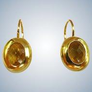 Lovely Estate 14K Gold And Citrine Earrings