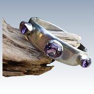 Los Ballesteros Sterling Silver Bracelet, Amethyst Stones - Mexico