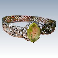 Art Deco Sterling Silver Filigree Bangle Bracelet With Faceted Center Stone