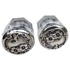 Floral  Art Nouveau Pair Sterling Silver TopDresser Jars