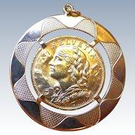 Lovely Swiss Sovereign Gold Coin In Gold Pendant Holder - 1927