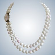 Substantial Vintage Natural Mediterranean Angel Skin Coral Necklace With Shell Cameo Silver Gilt Clasp - Hand Knotted