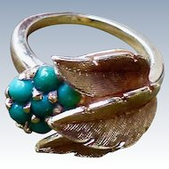 Interesting Vintage 14K Turquoise Cluster Ring