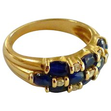 Estate Diamond And Sapphire 14K Gold Cluster Band Ring