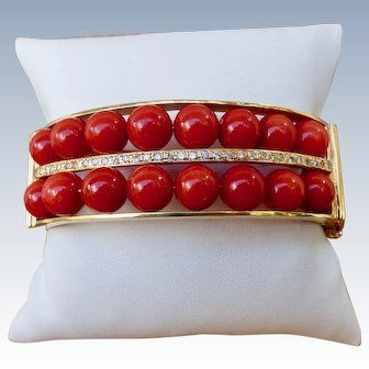 Estate Diamond And  Red Coral 18K Gold Wide Bangle Bracelet
