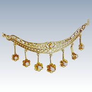 Vintage 14K Gold and Diamond  Filigree Necklace