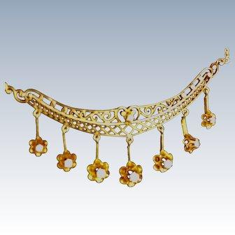 Vintage 14K Gold and Diamond  Filigree Necklace