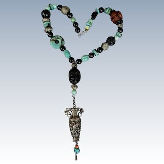 Chinese Silver Necklace With Black Onyx, Turquoise and Carved Ebony and Wood Beads