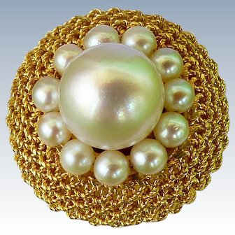 Summery 18K Gold and Pearl Woven Mesh Ring