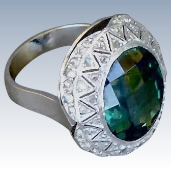Platinum Unique Faceted Synthetic Green Spinel And  and Rose Cut Diamond Ring - Retro