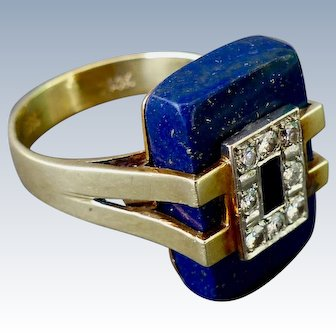 Art Deco 14K Gold Lapis Lazuli Ring