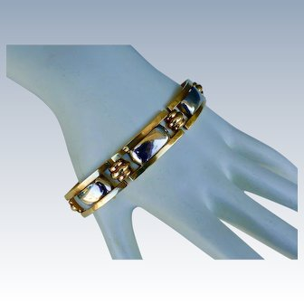 Art Deco Link Bracelet 14k & Sterling Silver - France